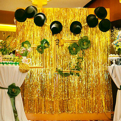 Metallic Foil Fringe Curtain Tinsel Party Wedding Home Happy New Year Decoration