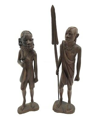 2 African Hand Carved Dark Wood Tribal Figures Warrior Man  & Woman