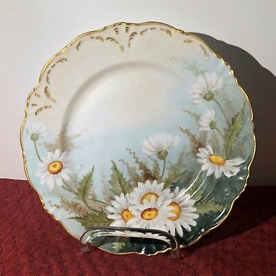 Beautiful Vintage Decorative Plate With Hand Painted Daisies Floral Flowers