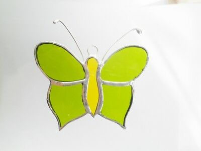 Leadlight Stained Glass Butterfly peridot green and yellow handmade in Australia