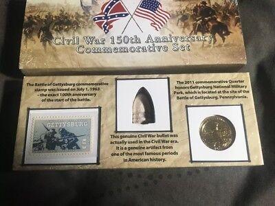 US Civil War Commemorative Set MUSKET BALL, Stamp, Coin 150 Anniversary Set Auth