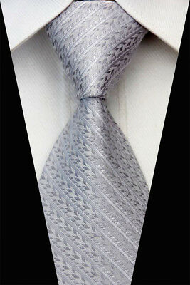 Royal Gray Plaid Man Classic JACQUARD Woven Necktie Busimess Tie Casual