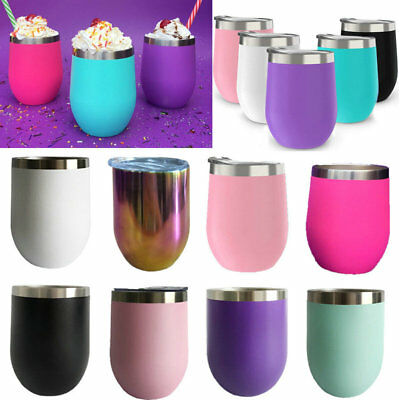 Stainless Steel Stemless Wine Glasses 12oz Insulated Metal Tumbler Cups 10 Color