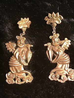 ANTIQUE UNIQUE CHINESE EXPORT EARRINGS 1800's? FIGURAL DEITY GILT SILVER