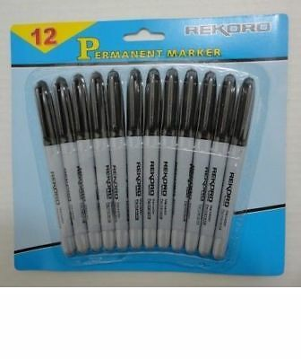 1Pk 12pc Bulk Lot of Black Permanent Markers School Office Crafts Crafting Tools