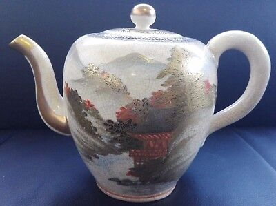 Antique Japan Satsuma Pottery Meiji Period Landscape Teapot