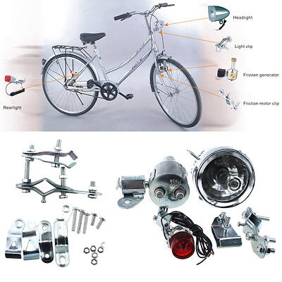 12V 6W Bicycle Motorized Bike Friction Generator Dynamo Headlight Tail Light Set