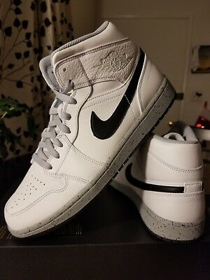 Nike Air Jordan 1 One Mid White Cement Wolf Grey Black 554724-115 Men s 10.5 0d152ff62