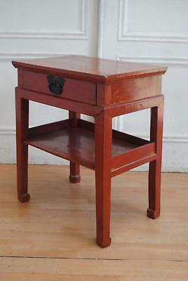 Chinese Provincial Lacquered Tan Style Elm Side Table  - Console Sofa Bedside
