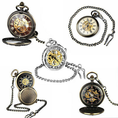 COLLECTION Retro Pocket Watch Double Hunter Black Blue Mechanical Hand Watch UK