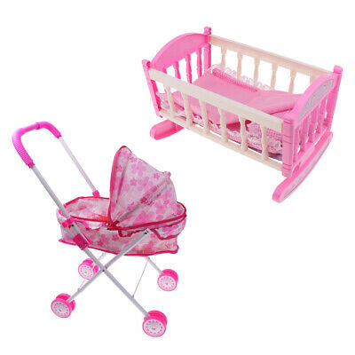 Pink Doll Buggy Pushchair Stroller Baby Bed Crib Miniature For Doll Kids Toy