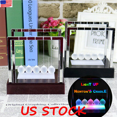 Newtons Cradle Pendulum Physics Light Up Gift Balance Ball Decor Fun LED Glass