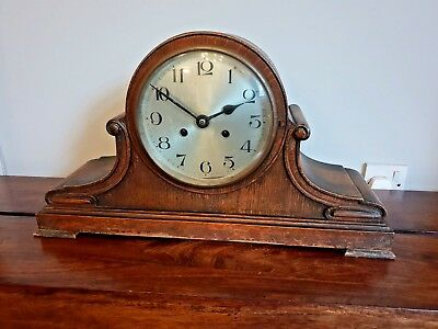 Antique 1930's Oak Mantel Clock (Chiming Metal Face Scroll Decals Gilt Glass)