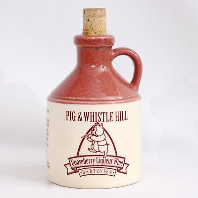 Vintage Stoneware Pig & Whistle Hill Gooseberry Liqueur Wine Bottle Jug Decanter
