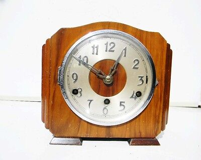 antique mantle clock westminster chimes walnut cased free UK post