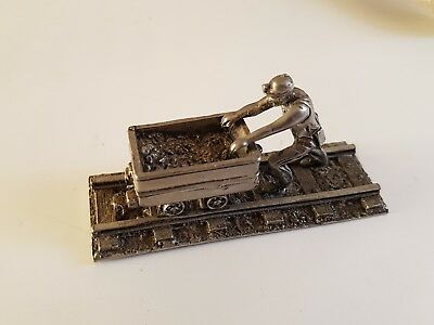 Pewter Coal Miner and Mine Cart Metal Figure