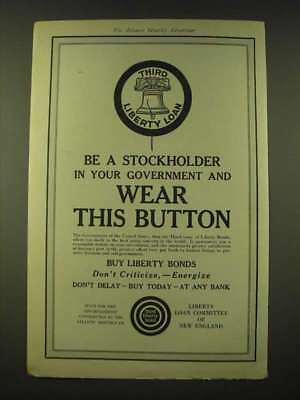 1918 Liberty Loan Committee of New England Ad - Be a stockholder