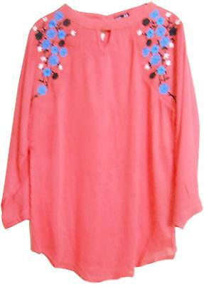 7c4f206750 Pink Women Girls Boat Neck Embroidered Rayon Cotton Top Casual And Western