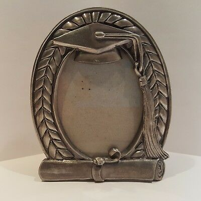 Graduation Cap and Tassel Oval Pewter Picture Frame