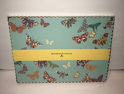 MacKenzie Childs 4 Butterfly Garden Sky Blue Cork Back Placemats NEW Retired