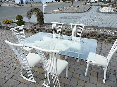 Dining Set 7-Piece Breakfast White Metal 6 Chairs Table Kitchen Dinette Glass t