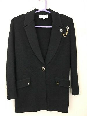 St John Collection By Marie Gray Blazer Jacket Women Size 2 Small Black Knit