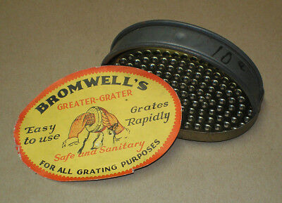 """Bromwell's """"Greater Grater"""" Vintage Kitchen Gadget NOS Unused With Paper Label"""