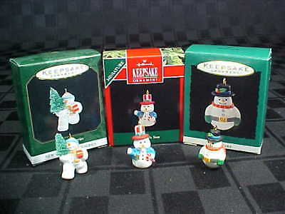 3 Hallmark Miniature Christmas Ornaments Snowman 1992 Cool Uncle Sam 1994 1999