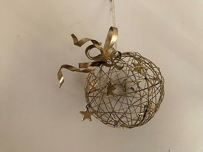 """3-D Metal Gold color Round with Stars Christmas Ornament - 4.5"""" Tall 3D"""