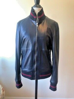 86f04a341eee Gucci Authentic Men s Leather Bomber Jacket Navy Blue SZ 50  med Retail   2995+