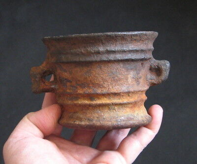Antique solid Iron post medieval Mortar and Pestle Poland Europe vintage