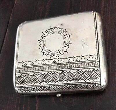 Antique Vintage Russian Imperial Silver 84 Engraved Cigarette Holder Case Box