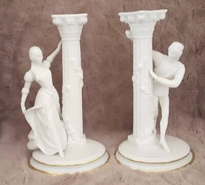 FRANKLIN MINT Romeo & Juliet Candlesticks Set Vintage White Gold Trim Bisque