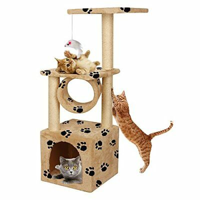 36in Deluxe Faux Fur Level Cat Tree Condo Furniture Climbing Activity Tower