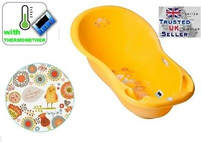 Baby Bath Baby Tub with thermomether drain 102cm Folk yellow