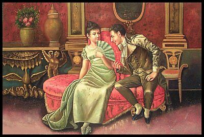 """36""""x24"""" Oil Painting on Canvas, A Young Couple, Genuine Hand Painted"""
