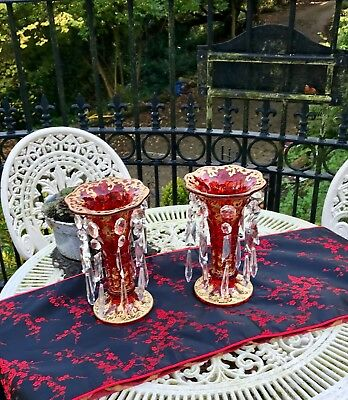 Rare pair of Antique Gold Decorated Cranberry Red Glass Lustres with Droplets