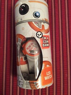 Star Wars LCD watch  BB-8 orange in storage that becomes a bank.NEW SEALED