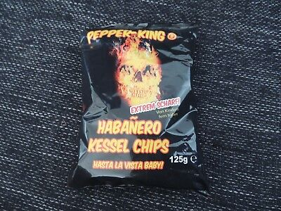 """Pepper-King Habanero Kessel Chips (125g) extrem scharf Chilli """"Hot as hell"""""""
