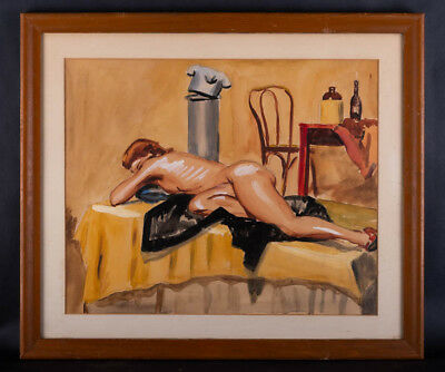 """Early 20th Century Pin-Up Style Watercolor """"Reclining Nude"""""""