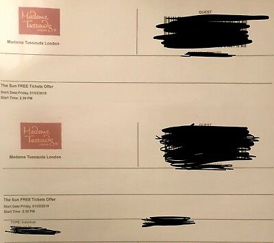2 Madame Tussaud's London eTickets - Friday 1st February 2019