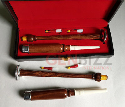 Brand New Bagpipe Practice Chanter Rose Wood Natural Color Silver mounts