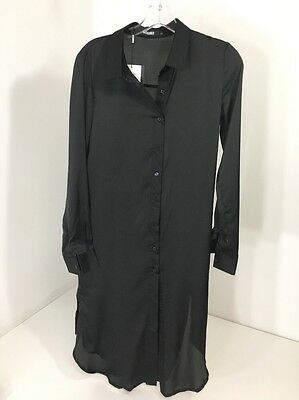 98c2c4c693b Women s MISSGUIDED Embroidery Back L S Shirt Dress Button Front Black US 2  NWT