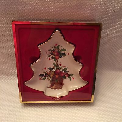 NEW Lenox Holiday Tartan Tree Candy Dish Christmas Topiary Gold Trim BEAUTIFUL