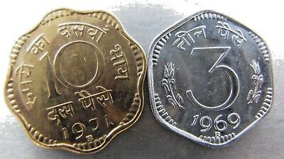 Republic of India 10 Paise 1971-B and 3 Paise 1969-B Proof pair.