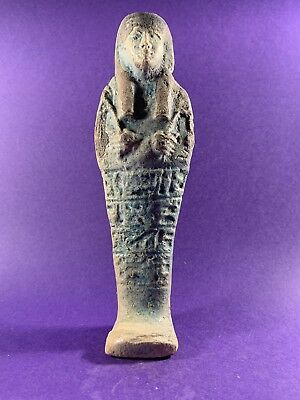 Giant Shabti - Circa 664-332Bc Ancient Egyptian Glazed Shabti W/hieroglyphics