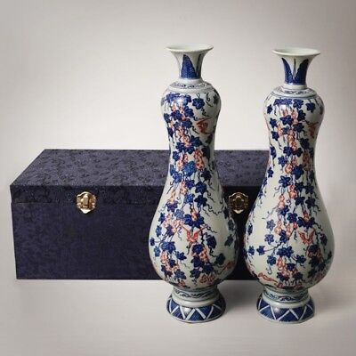 Pair of Chinese Porcelain Vases Blue&White Hand-Painting Ware QianLong Marks