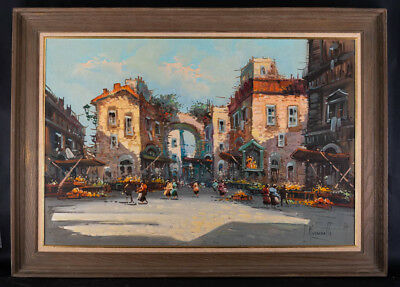 "Large Early 20th Century Impressionist Oil ""Italian Street"""