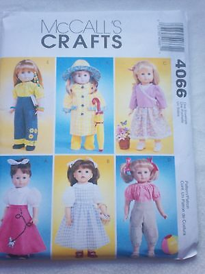 """McCall's Sewing Pattern #4066 - 18"""" Doll clothes"""