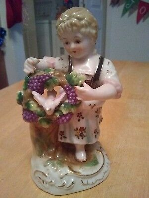 Vintage Lenwile China Ardalt Hand Painted 6763 Girl Grape Bird Figurine 6""